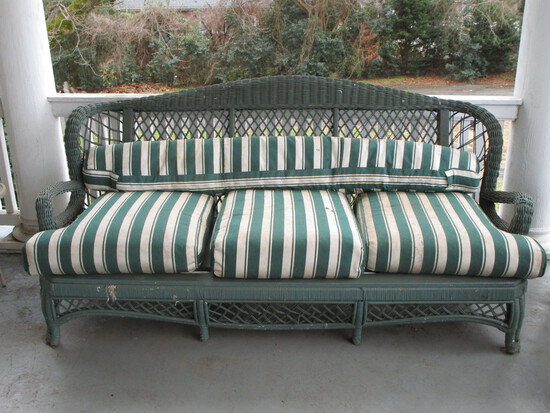 Green Painted Victorian Era Sofa w/ Striped Cushions  (cushions need cleaning)