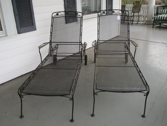 Pair - Wrought Iron Chaise Lounge Chairs - 1 needs repair on adjustable Back