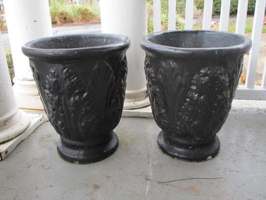 Pair Black Concrete Planters