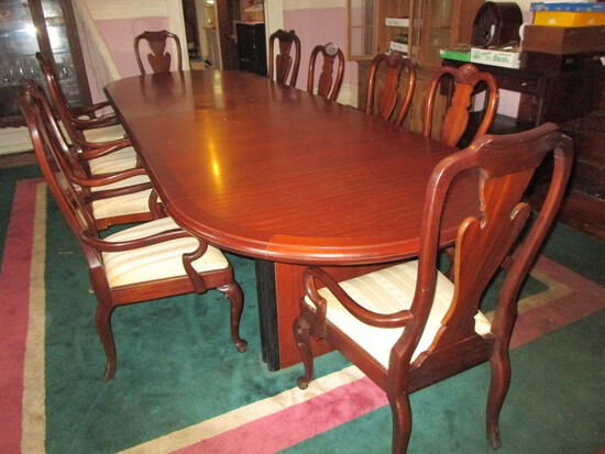 Impressive Bernhardt Banquet Table w/ Banded Inlay & Triple Square Pedestal & 10 Chairs