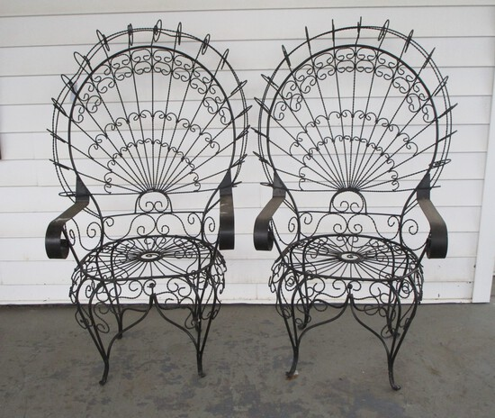 Pair Mid Century Wrought Iron Wire Peacock Chairs in style of Salterini