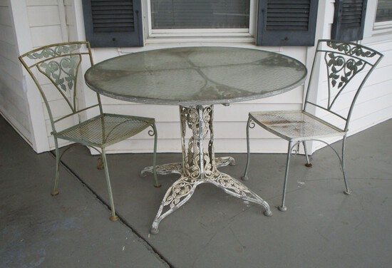 Ornate Wrought Iron Patio Table w/ Glass Top & 2 Matching Chairs