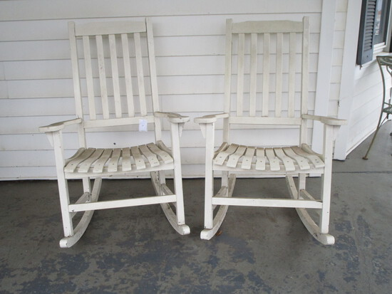Pair Painted White Wooden Slat Back Rockers