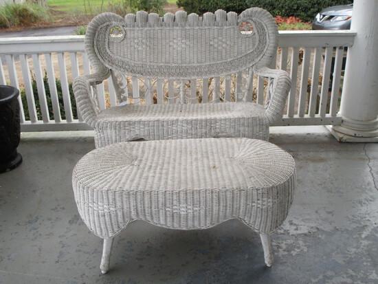Ornate White Wicker Settee w/ Tea Table