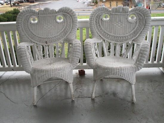 Pair Ornate White Wicker Arm Chairs