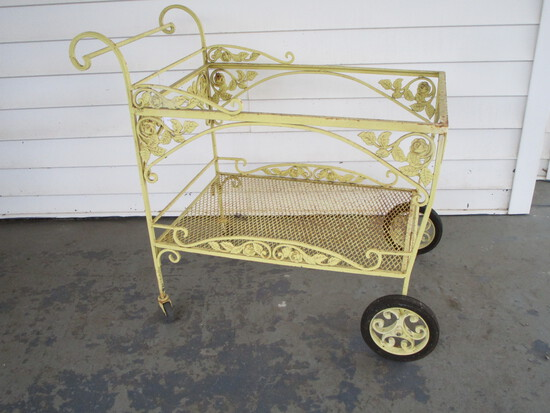 Painted Yellow Wrought Iron Tea Cart w/ Bottom Shelf - Glass Missing from Top