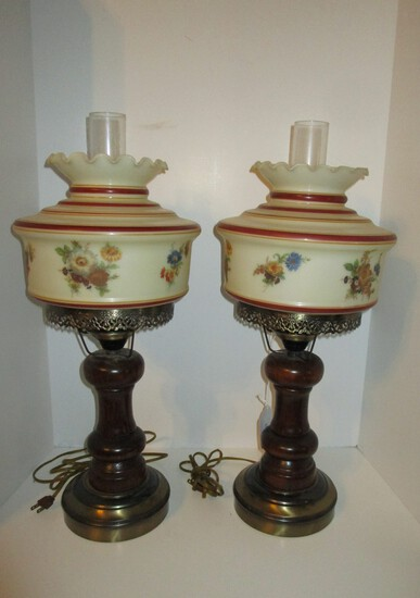 Pair Wood Base Hurricane Lamps w/ Painted Globes - 24.5""