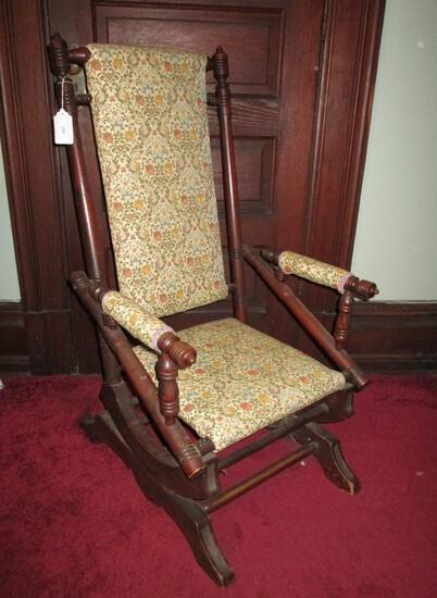 Early Walnut Platform Rocker w/ Upholstered Back, Seat & Arms - very nice