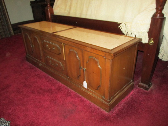 """Wood Low Chest / Marble Inserts - 2 Center Drawers w/ 2 Cabinets 61"""" W X 17"""" X 21""""t s"""