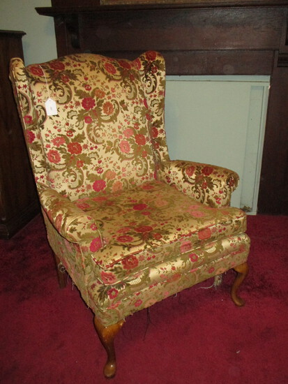 Wing Back Chair w/ Tapestry Upholstery