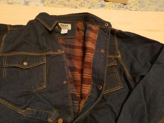 Duke Haband XL Men's Blue Jean Jacket & Elmer Little Black Leather XL Gloves