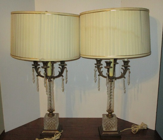 "Pair Lead Crystal Lamps w/ Brass Base & 4 Arm Candelabra w/ Prisms & Silk Shade - 31"""