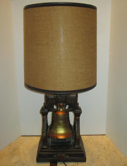 """Chalkware - Liberty Bell Lamp 33"""" w/ Burlap Shade"""