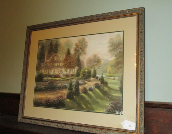 "Framed Print of Home w/ Lights in Kinkade Style - 33"" X 26.5"""