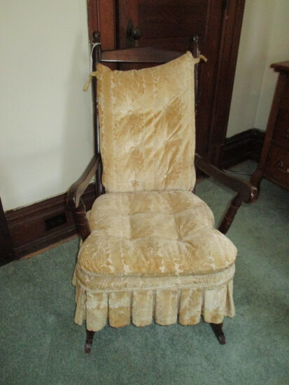 Walnut Rocker w/ Arms & Upholstered Cushions - cushions soiled