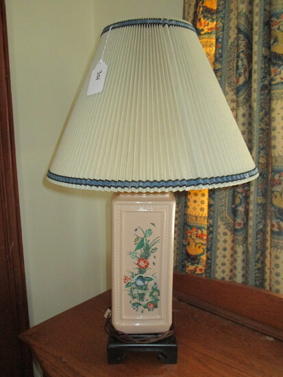 "Ceramic Lamp 31"" Nathan Lagin Co. w/ Pleated Paper Shade & Green Wood Ball Finial - Oriental Motif"