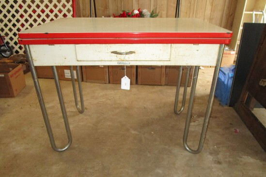 Sellers Enamel Top Kitchen Table w/ Chrome Legs, 1 Drawer & Red Trim