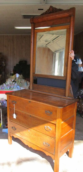Golden Oak Dresser w/ Tall Back Mirror