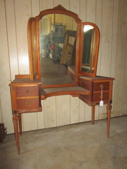 Depression Era Dresser w/ Trifold Mirror - Needs Repair but will be sweet piece w/ TLC
