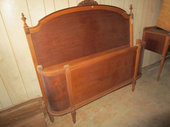 Depression Era Full Size Bed (head & footboard) w/ Rails & Slats - needs some TLC