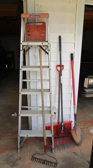 Lot - Ladder, Snow Shovel, Garden Rake