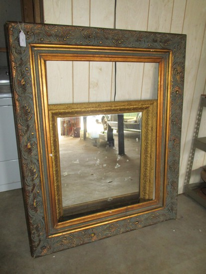 "Large Ornate Wood Frame 43"" X 53.5"" & Mirror w/ Ornate 30.5"" X 36"" (mirror has crack)"