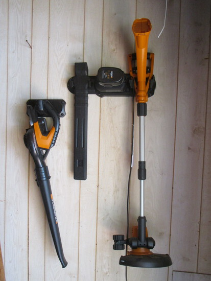 Lot - Weed Eater & Blow Dryer w/ Electricity Wall Bar by WORKX