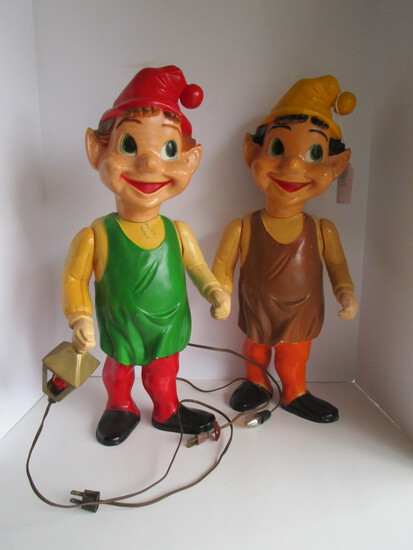 Lot - 2 of Santa's Elves - Electric - small hole in hat on back of one elf.