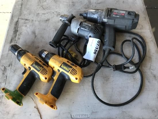 Black & Decker & DeWalt Drills, Qty 4