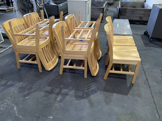 Solid Wood Dining Chairs Qty 10