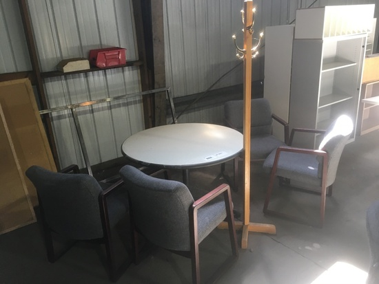 Round Table, Chairs & Coat Rack