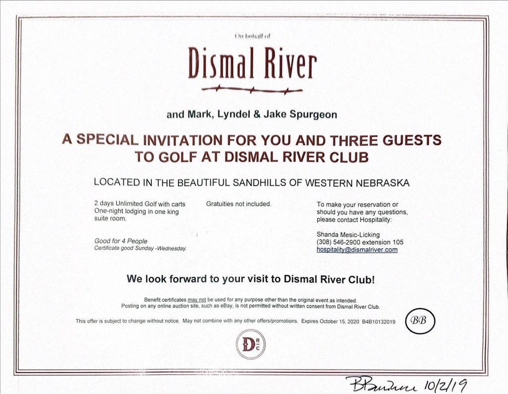 Dismal River Club Benefit Charity Items For Benefit Auction Auctions Online Proxibid