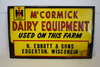 International Harvester McCormick Dairy Equipment Sign