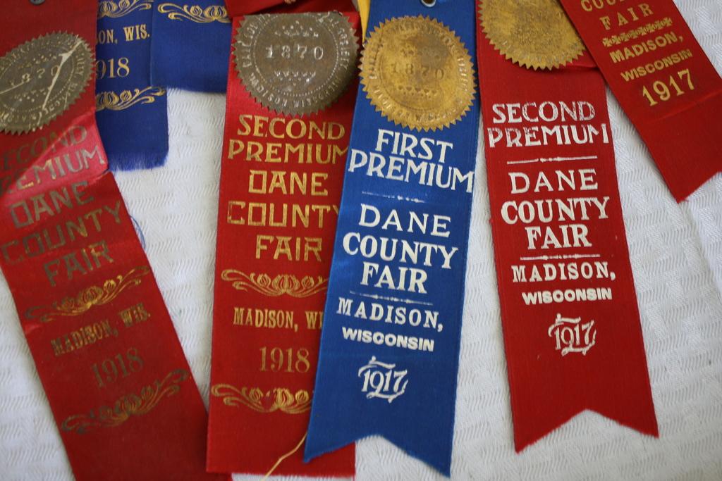 Lot: Lot of 13- 1917 & 1918 Dane County Fair Ribbons
