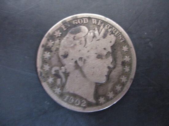 1902 Barber Silver Half Dollar