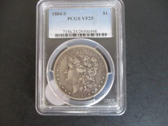 1884-S PCGS VF25 Morgan Silver Dollar