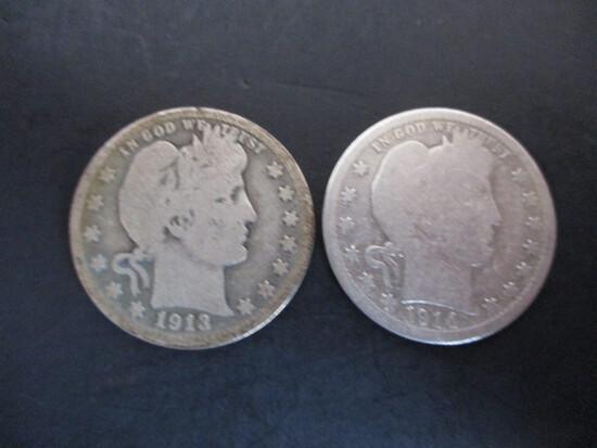 Barber Silver Quarter Lot of 2