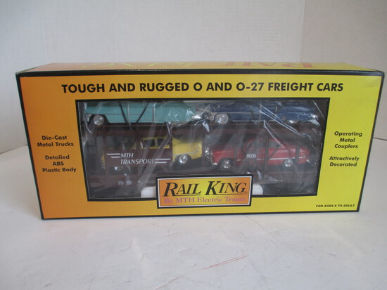 M.T.H. Electric Trains Auto Transport Auot-Carrier W/ ERTL Die-Cast Cars