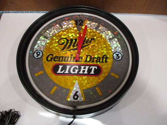 Miller Genuine Draft Light Neon Clock