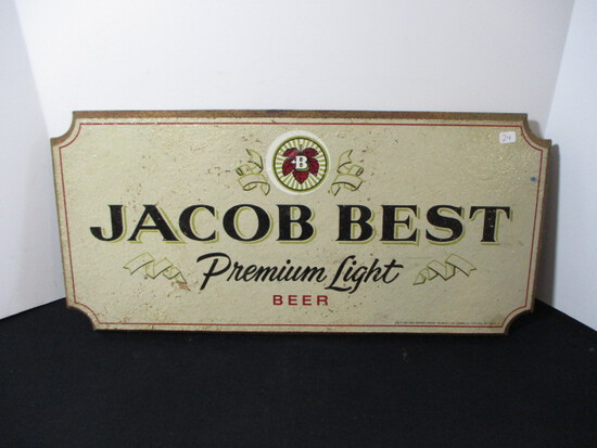"""Pabst """"Jacob Best"""" Wood Advertising Sign"""