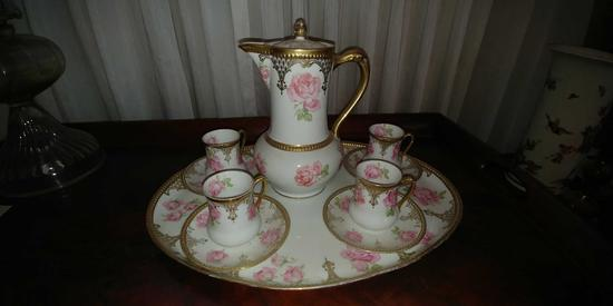 Prussia chocolate set. 4 cups, saucers, chocolate potband tray.