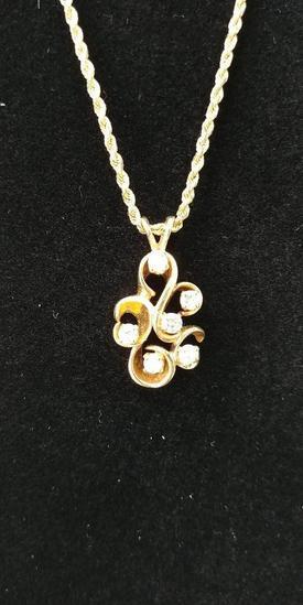 14 kt, y/g six (6) diamond freeform pendant with 18?? 2mm diamond cut chain. Diamond weight .60