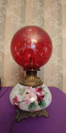 Victorian lamp - etched cranberry globe