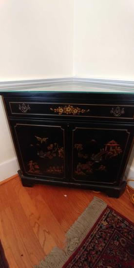 Handpainted corner cabinet