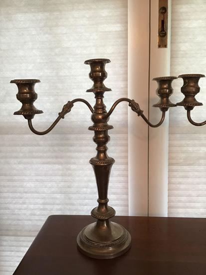 Pair very ornate silverplate candlesticks