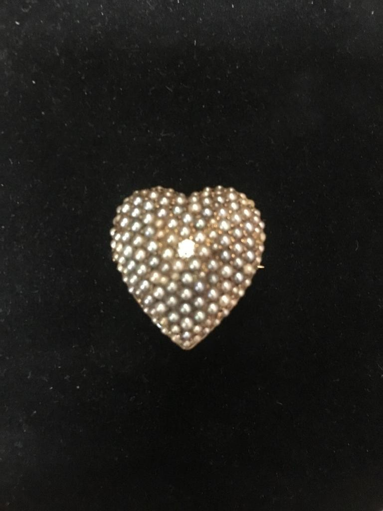 14 kt, y/g heart pendant and pin combination with one hundred