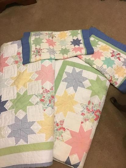 2 twin sized quilts with sham