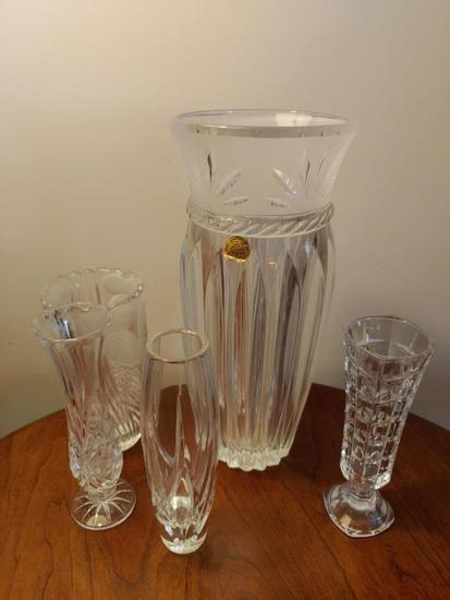 Lot 6 crystal and glass vases