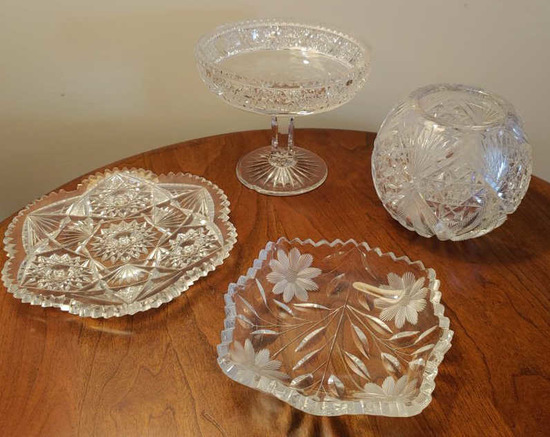 Four cut glass pressed glass pieces