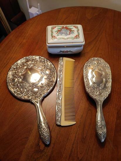 Silver brush comb set and porcelain dresser box